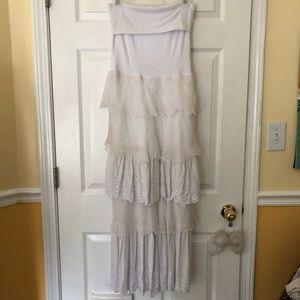 SAGA bohemian strapless lace tiered maxi dress